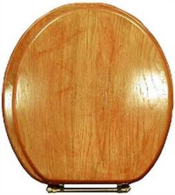 LDR 050 1700CP Round Molded Oak Toilet Seat with Oak Veneer