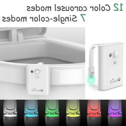 12 Color LED Toilet Seat Bathroom Night Light Human Body Mot