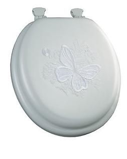 Mayfair 1386EC 000 Butterfly Embroidered Soft Toilet Seat wi