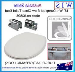 "18"" Duroplast Soft Close Round Toilet Seat w Zinc Alloy Hing"