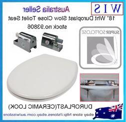"18"" Duroplast Soft Close Round Toilet Seat w Zinc Alloy Hing"