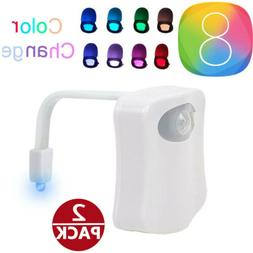 2 PCS 8 Color Toilet Bowl Seat Night Light Motion Activated
