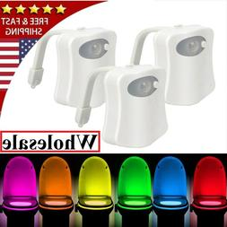 1-2 Pk Toilet Night Light Motion Activated 8-Color LED Senso