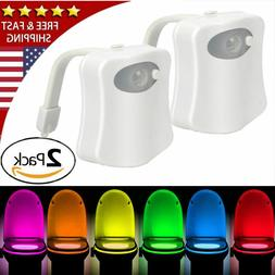 2 Pack Toilet Night Light 8 Color LED Motion Activated Senso
