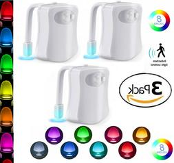 3 Pack Toilet Night Light 8 Color LED Motion Activated Senso