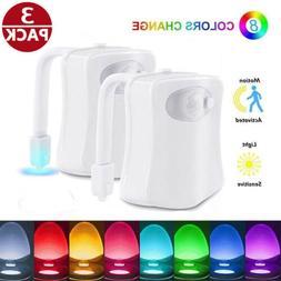 3 PCS 8 Color Toilet Bowl Seat Night Light Motion Sensor LED