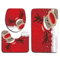 3 Pcs Christmas Snowman <font><b>Toilet</b></font> Cover <fo