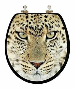 "TOPSEAT 3D "" LIONS "" Round Elongated Toilet Seat w/Chrome Hi"