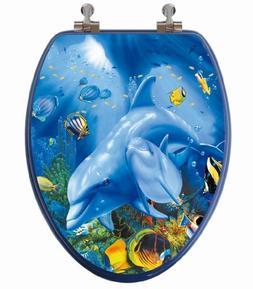 TOPSEAT 3D Ocean Series Elongated Toilet Seat w/ Chromed Met