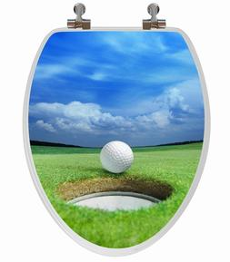 Topseat 3D Series GOLF Wood Toilet Seat, Round, NEW SEALED