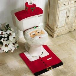 Merry Christmas Toilet Seat & Cover Santa Claus Bathroom Mat
