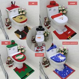 3PCS Set Christmas Bathroom Decoration Toilet Lid Tank Cover