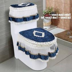 3Pcs/Set Lace Bathroom Set Toilet Seat Pad Tank Lid Top Cove