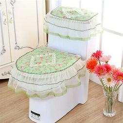 3Pcs Toilet Seat Cover Set Closestool Tank Lid Lace Floral W