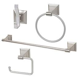 "4-Piece Bathroom Hardware Accessory Set With 24"" Towel Bar -"