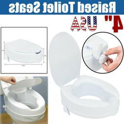 """4"""" Adjustable Bathroom Elevated Raised Toilet Seats Riser Li"""