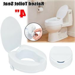 """4"""" Elderly Medical Raised Toilet Seat Elevated Adjustable Po"""