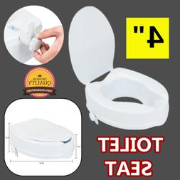 """4"""" Elevated Raised Toilet Seat Safety Locking Medical Aid fo"""