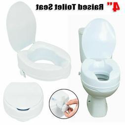 "4"" Raised Toilet Seat Medical Elevated Elongated Elderly Toi"