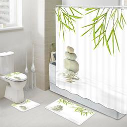 4PCS  Zen Spa Decor Shower Curtain Bathroom Set with Rugs To