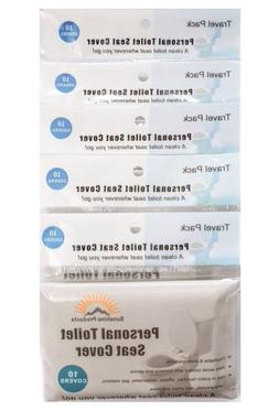 5 Travel Packs 50 pcs Disposable Hygenic Paper PersonaL Toil