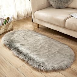 80*180cm Oval Fur Faux Artificial Sheepskin Carpet Washable