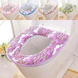 AG_ Flower Print Soft Warm Toilet Cover Seat Lid Pad Mat Sea