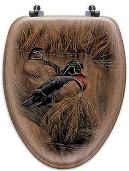 Back Water Wood Ducks Oak Elongated Toilet Seat