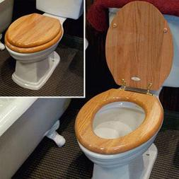 Bathroom Oak Toilet Seat Round Chrome Hinges Wood Wooden Fin