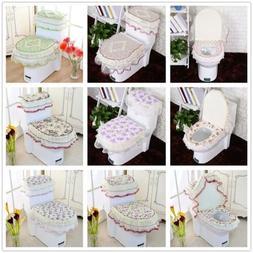 Bathroom Set Toilet Seat Mat Tank Lid Top Cover Warm Washabl