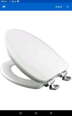 Church Bathroom Toilet Seat Wood Elongated Slow-Close in Whi