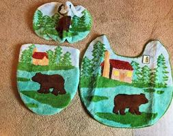 Bear Bath Rug Set of 3pcs - Toilet Rug, Seat Cover, Toilet T