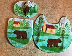 Bear Bath Rug Set of 3pcs - Toilet Rug, Seat Cover, Toilet T