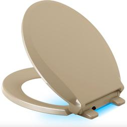 Kohler Beige Round Closed Front Bathroom Toilet Seat Quiet S