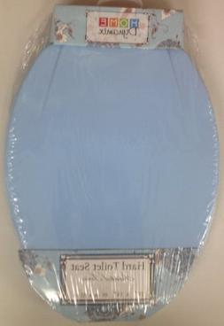 BLUE MOLDED WOOD ELONGATED TOILET SEAT