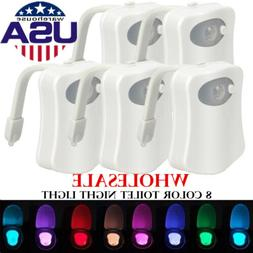 Toilet Night Light 8 Color LED Motion Activated Sensor Bathr