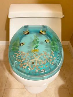 Brand New Polyresin Toilet Seat Aqua Star Fish & Fish WPL345