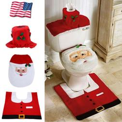 christmas bathroom 3pcs set santa toilet seat