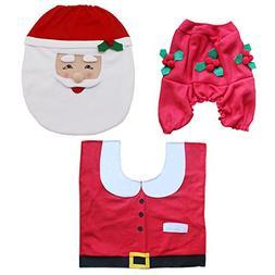 3-Piece Christmas Santa Toilet Seat Cover, Tank Cover, Toile