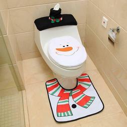 Christmas Toilet Lid Tank Cover 3 Set Santa Toilet Seat Cove