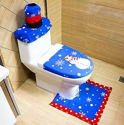 Alimitopia Christmas Toilet Set,Embroidery Seat Cover Rug Ta