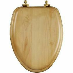 Church Bemis 19601BR Oak Elongated Toilet Seat With Brass Hi