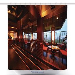 vanfan Cool Shower Curtains Row Of Tables And Red Seats With