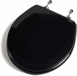 Deluxe Black Round Wood Toilet Seat, Adjustable Chrome Hinge