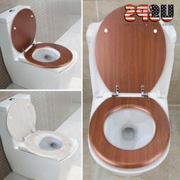 toilet seat oak round finish chrome wooden