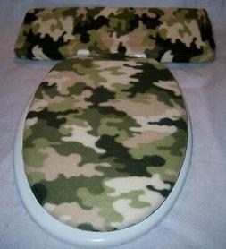 DESERT CAMO Camouflage fleece  Elongated Toilet Seat Lid and
