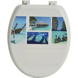 Design Toilet Seat Elongated / Oval Wood Adjustable Hinges b