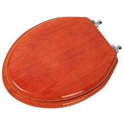 Designer Solid Elongated Oak Wood Toilet Seat with Oil Chrom