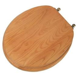 Designer Solid Round Oak Wood Toilet Seat with Antique Brass