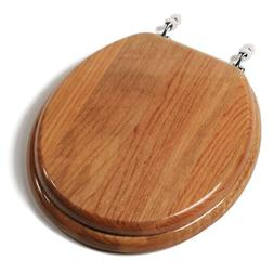 Designer Solid Wood Toilet Seat with Chrome Hinges Round Oak
